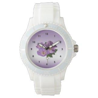 Purple Geranium Flowers Wristwatch