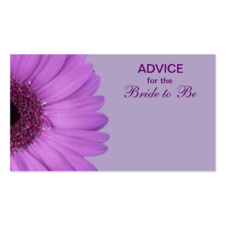 Purple Gerber Daisy Advice for the Bride Business Card Template