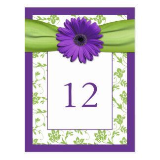 Purple Gerber Daisy Green Damask Table Number Card Postcard