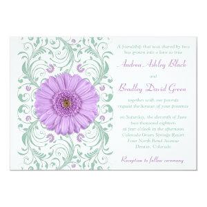 Purple Gerber Daisy Mint Floral Wedding Invitation 5