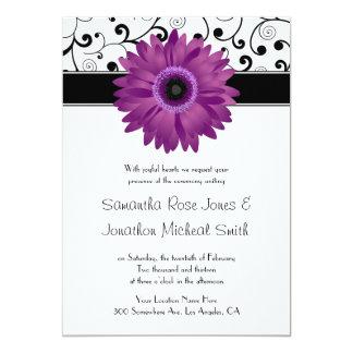 Purple Gerbera Daisy Black Scroll Design Wedding Card