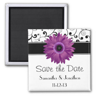 Purple Gerbera Daisy Black Scroll Save the Date 2 Inch Square Magnet