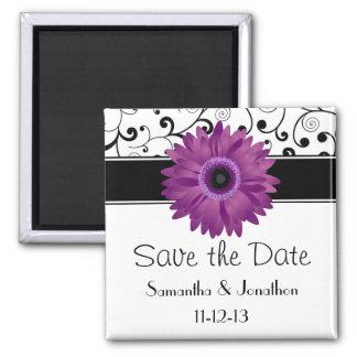 Purple Gerbera Daisy Black Scroll Save the Date Magnet