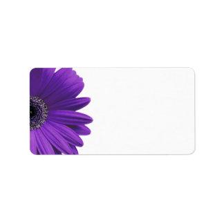 Purple Gerbera Daisy Blank Wedding Address Labels