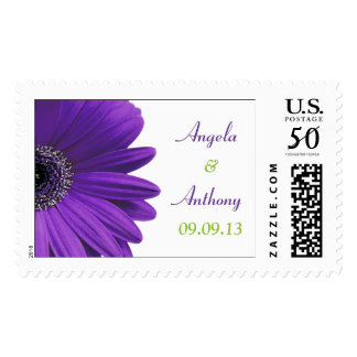 Purple Gerbera Daisy Personalized Wedding Postage