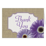 Purple Gerbera Daisy Thank You Stationery Note Card