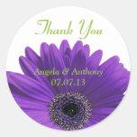 Purple Gerbera Daisy Thank You Wedding Stickers