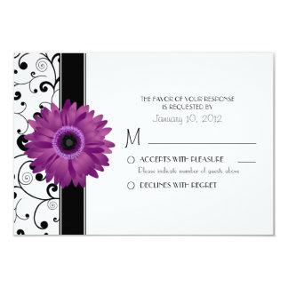 Purple Gerbera Daisy with Black Scroll Design RSVP Card