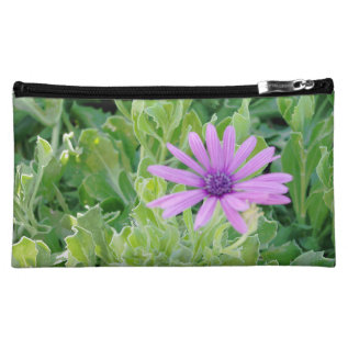 Purple Gerbera Floral Makeup Cosmetic Bag (medium) at Zazzle