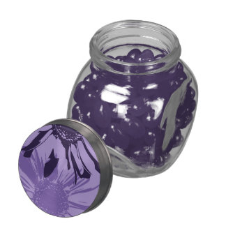 Purple Gerbera Flowers Glass Jars