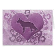 Purple German Shepherd Valentine's Day Card