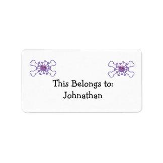 purple germy germ and crossbones design label