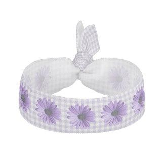 Purple Gingham and Flowers Head Band Hair Ties