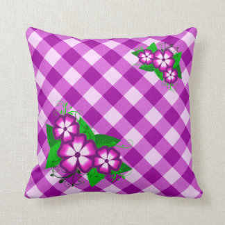 Purple Gingham and Flowers Pillow