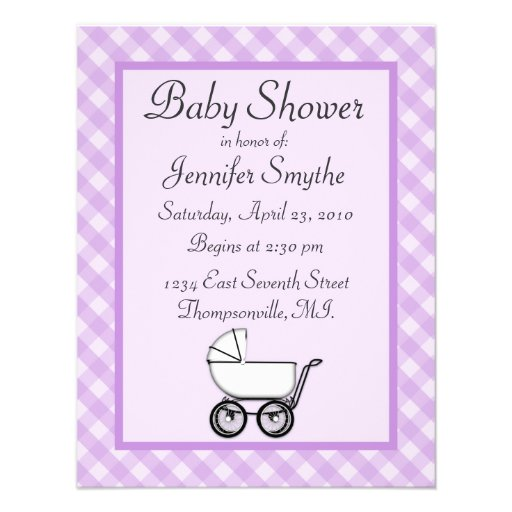 purple gingham baby shower invitations zazzle