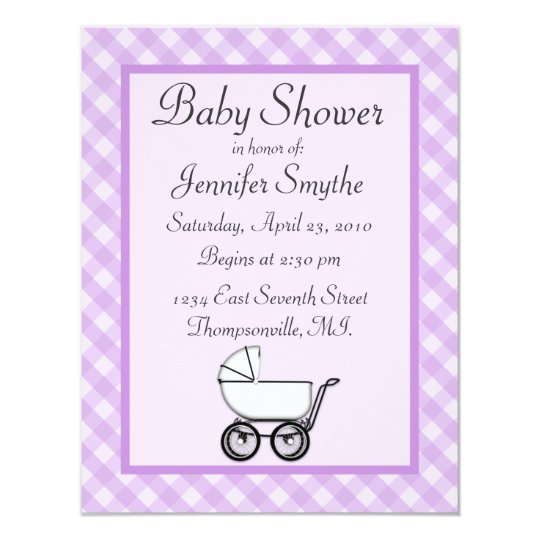 Purple Gingham Baby Shower Invitations