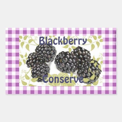 Purple gingham blackberry jam jelly label rectangular sticker