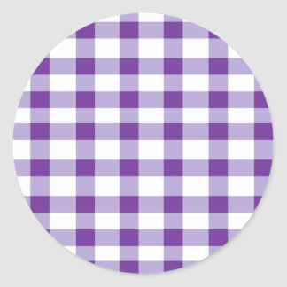 Purple Gingham Classic Round Sticker