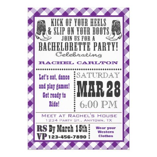 Purple Gingham Cowgirl Bachelorette Party Invite