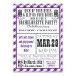 """Purple Gingham Cowgirl Bachelorette Party Invite 5"""" X 7"""" Invitation Card"""