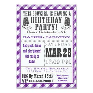 Purple Gingham Cowgirl Birthday Invitation