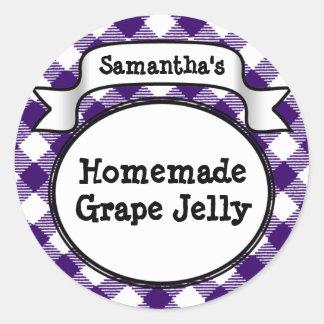 Purple Gingham Grape Jelly Jam Jar/Lid Label Classic Round Sticker