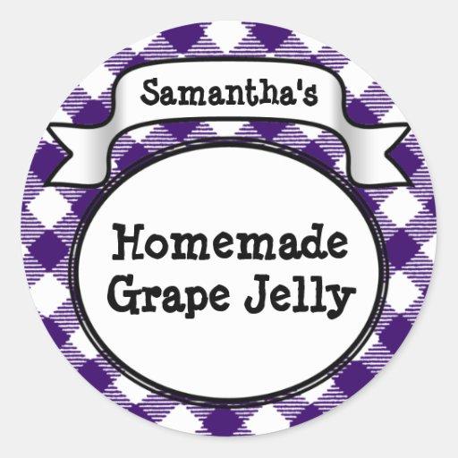 Purple Gingham Grape Jelly Jam Jar/Lid Label Sticker