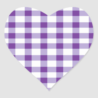 Purple Gingham Heart Sticker