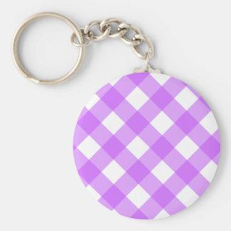 Purple Gingham Keychain