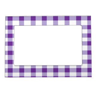Purple Gingham Magnetic Photo Frame