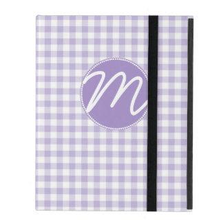 Purple Gingham Monogram iPad Case