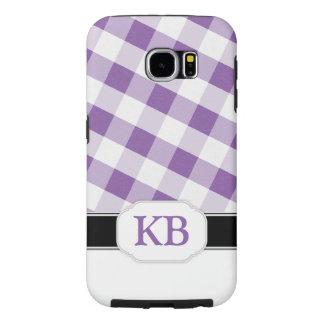Purple Gingham Monogram Samsung Galaxy S6 Case