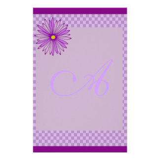Purple Gingham Monogram Stationery