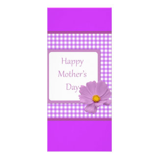 Purple Gingham Mothers Day Bookmark Rack Card Template