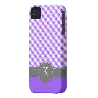 Purple Gingham Pattern Custom Monogram iPhone 4 Case-Mate Cases