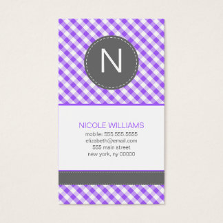 Purple Gingham Pattern Monogram Calling Cards