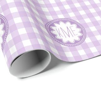 Purple Gingham Pattern Monogram Wrapping Paper
