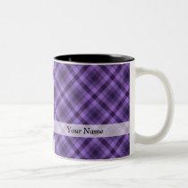 Purple gingham pattern Two-Tone coffee mug