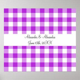 Purple gingham pattern wedding favors print