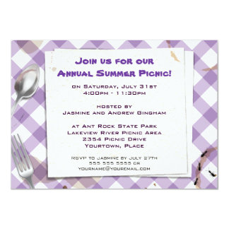 Purple Gingham Picnic BBQ Party Invitation