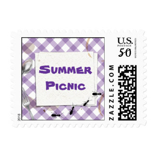 Purple Gingham Picnic BBQ Party  Postage