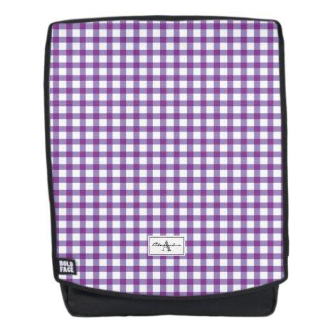 Purple Gingham Plaid Checked Pattern Monogram Backpack