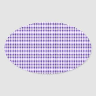 Purple Gingham Plaid Oval Sticker