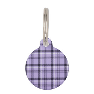 Purple Gingham Plaid Pet Name Tag