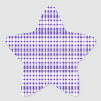 Purple Gingham Plaid Star Sticker