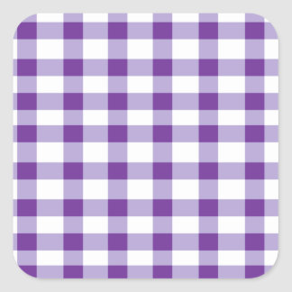 Purple Gingham Square Sticker