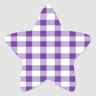 Purple Gingham Star Sticker
