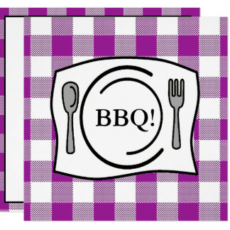 Purple Gingham Tablecloth BBQ Card