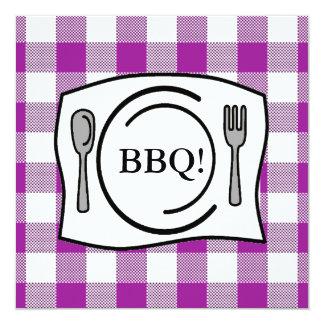 "Purple Gingham Tablecloth BBQ 5.25"" Square Invitation Card"