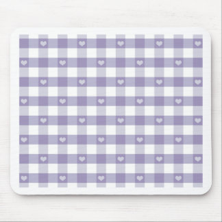 Purple gingham,white,hearts,country chic,girly,fun mouse pad